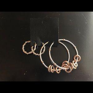 Free People silver hoop chain earrings